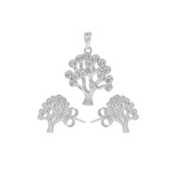 Set argint zirconiu tree -  Argint Zirconiu Alb