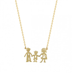 Lant aur 14K cu pandant family