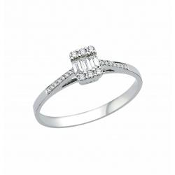 Inel aur 18K logodna incrustat cu diamante 0.18 G SI