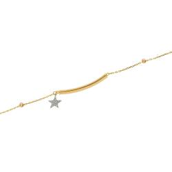 Bratara aur 14k  zirconiu placuta stea