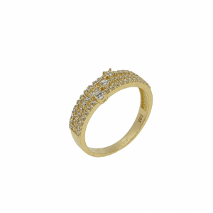 Inel aur 14K Niche galben zirconiu elegant