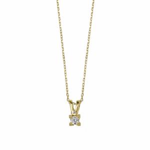 Lant aur 18k cu pandantiv diamant alb 0.08 G SI