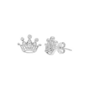 Cercei argint zirconiu crown