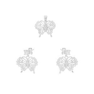Set argint zirconiu butterfly