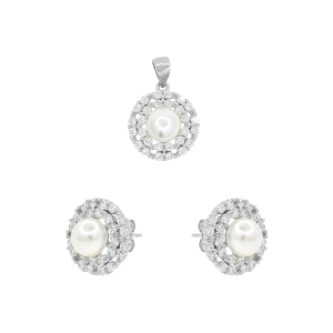 Set argint mix perla zirconiu