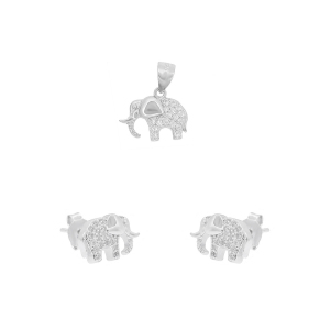 Set argint zirconiu elefant