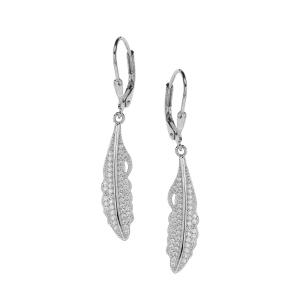 Cercei argint zirconiu leaf
