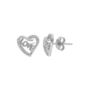 Cercei argint zirconiu love hearts