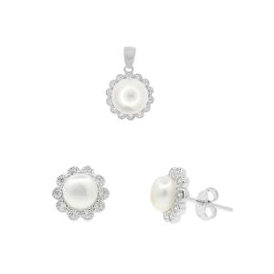 Set argint mix perla flora