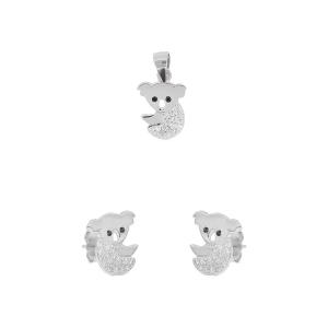 Set argint zirconiu bear