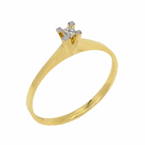 Inel logodna din aur 18k cu diamant, 0,05 G SI
