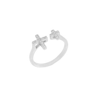 Inel argint zirconiu cruce 0519/MB/MS