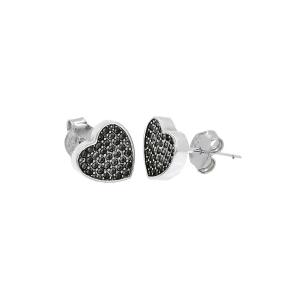 Cercei argint zirconiu vintage hearts