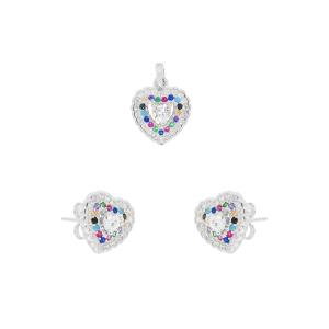 Set argint zirconiu vivid heart