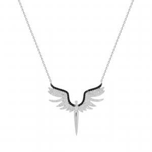 Lant argint pandantiv zirconiu aripi