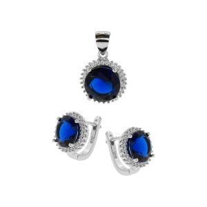 Set argint zirconiu elliato -  Argint Zirconiu Albastru