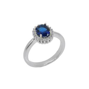 Inel argint theora -  Argint Zirconiu 12 Albastru