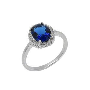 Inel argint zirconiu elliato -  Argint Zirconiu 20 Albastru