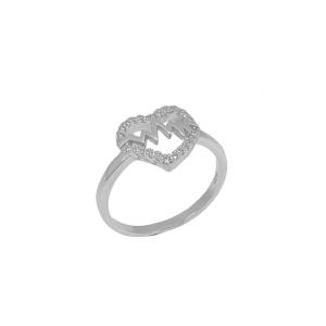 Inel argint zirconiu hearts