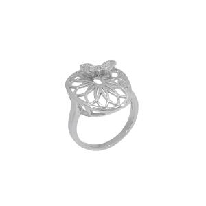 Inel argint zirconiu butterfly