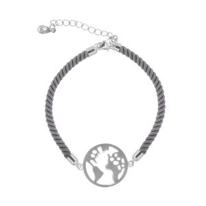 Bratara argint world -  Argint Gri