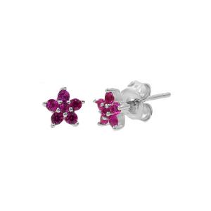Cercei argint zirconiu flora -  Zirconiu Rosu