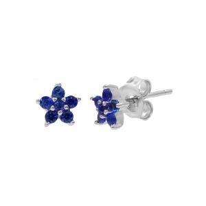 Cercei argint zirconiu flora -  Zirconiu Albastru
