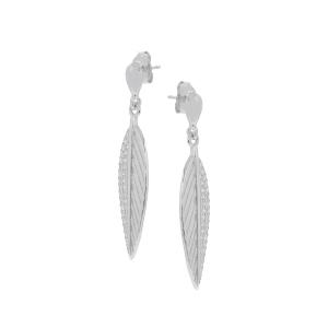 Cercei argint zirconiu feather