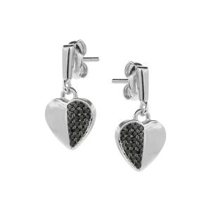 Cercei argint zirconiu sparkle hearts