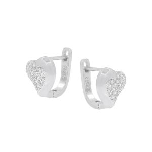 Cercei argint zirconiu hearts