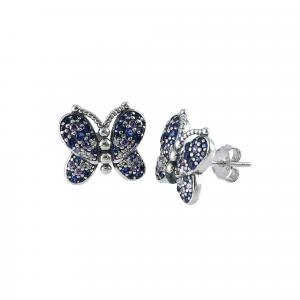 Cercei argint zirconiu butterfly