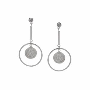 Cercei argint zirconiu geometrici - 591299*