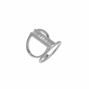 Inel argint zirconiu geometric - 588480*