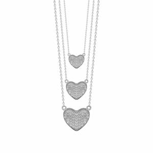 Lant argint cu pandantive inima - 593538*