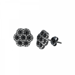Cercei argint zirconiu noir fleur