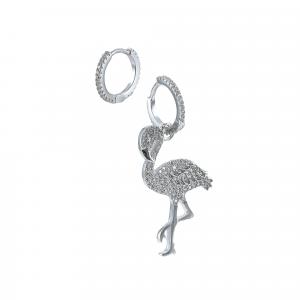 Cercei argint zirconiu flamingo