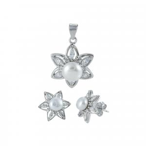 Set argint zirconiu & perla flora