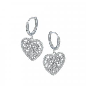 Cercei argint zirconiu corazon