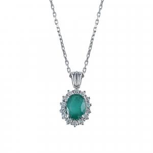 Lant aur 18k incrustat cu diamante si smarald