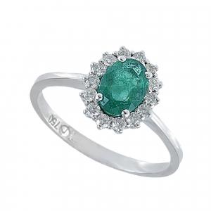 Inel aur 18k incrustat cu diamante si smarald