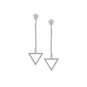 Cercei argint geometrici pietre zirconiu - 594160*