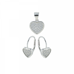 Set argint zirconiu heart