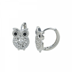 Cercei argint zirconiu owl