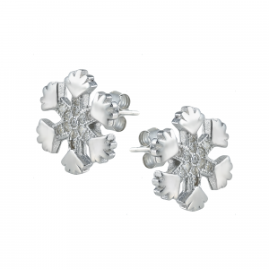 Cercei argint zirconiu snowflake