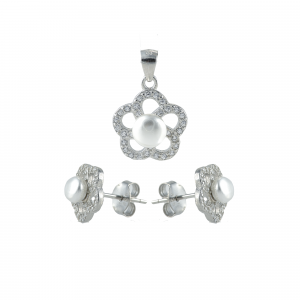 Set argint perla zirconiu flower
