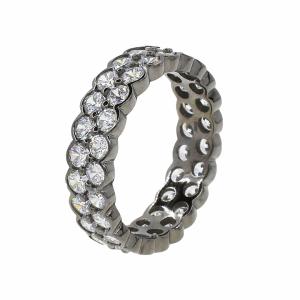 Inel argint rodiat pietre zirconiu colectia exclusiva - 602070*