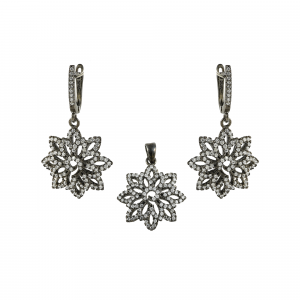 Set argint zirconiu fleur