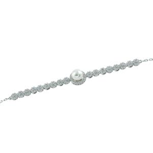 Bratara argint mix perla zirconiu elegant