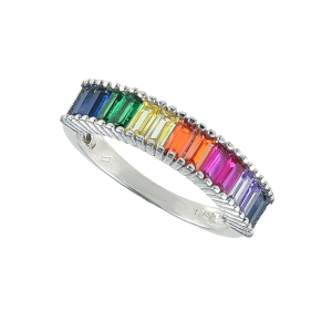 Inel argint zirconiu rainbow