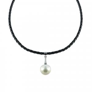 Choker piele naturala cu perla